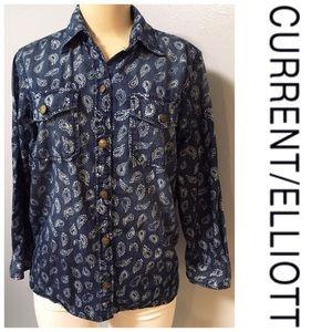 Current Elliott Denim Printed Shirt Size 1 Cotton